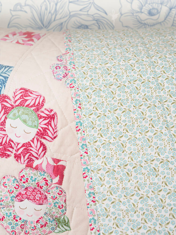 Pretty Handmades Blog Tour - Flower Friends Quilt backing 02