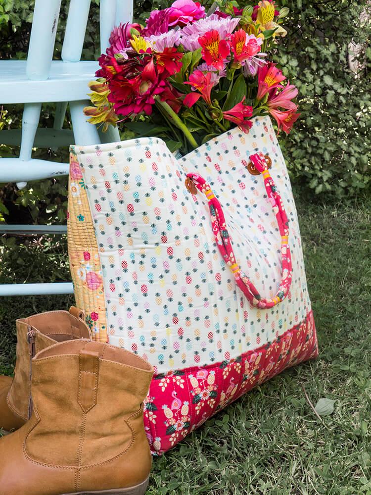 Boho Style Market Tote - pineapple fabric back