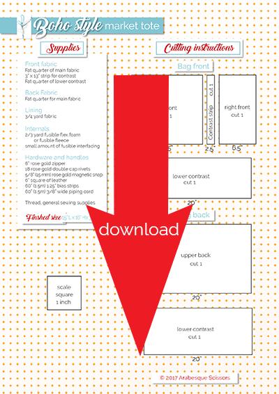 Tutorial: Boho Style Market Tote - free printable