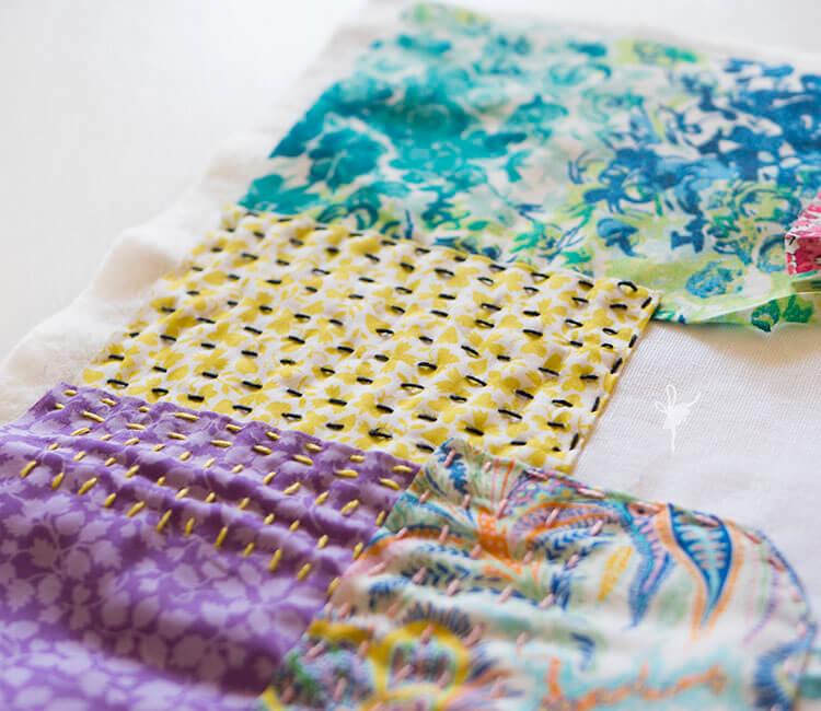 Liberty Society Kantha Stitch Along - beautiful texture