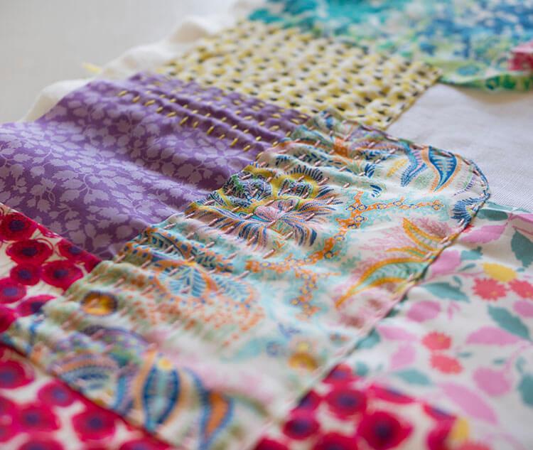 Liberty Society Kantha Stitch Along - pink stitches