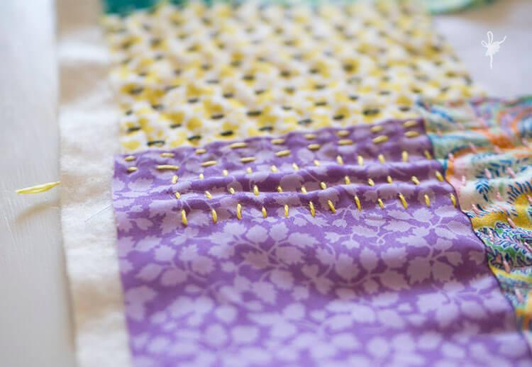 Liberty Society Kantha Stitch Along - yellow and purple