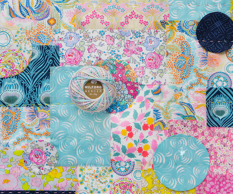 Liberty Society Kantha Stitch Along - Part 2 - quilting with crochet cotton