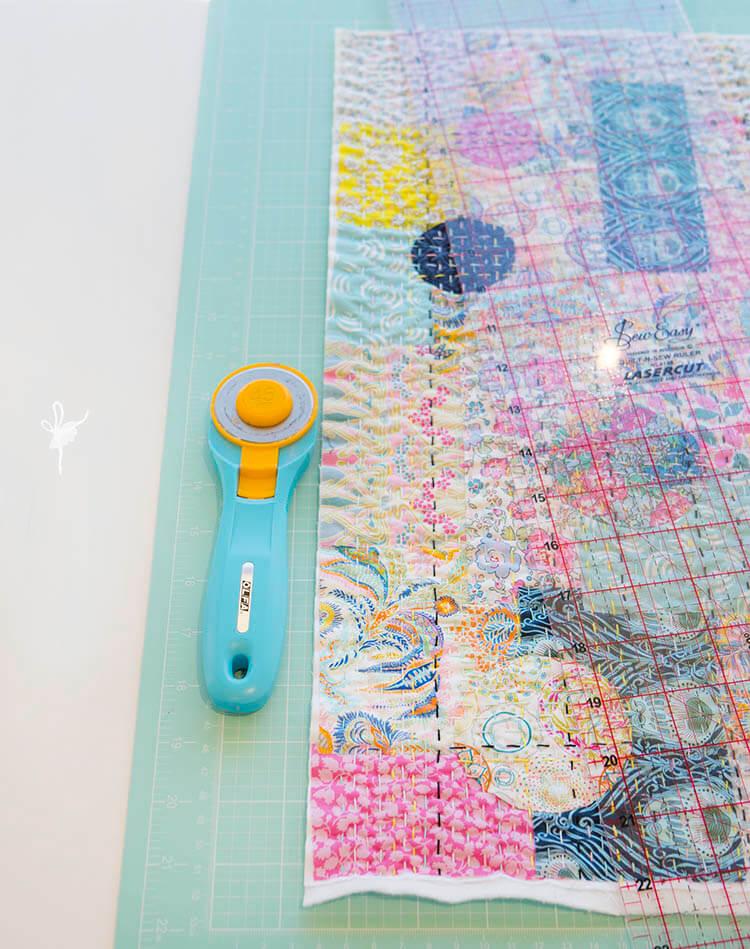 Liberty Society Kantha Stitch Along - Part 3 - trim along edge of stitching