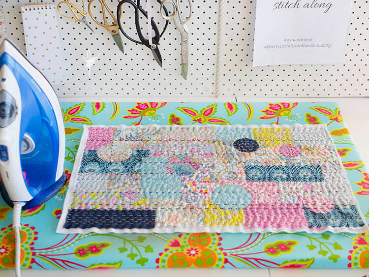 Liberty Society Kantha Stitch Along - Part 3 - press your quilted top