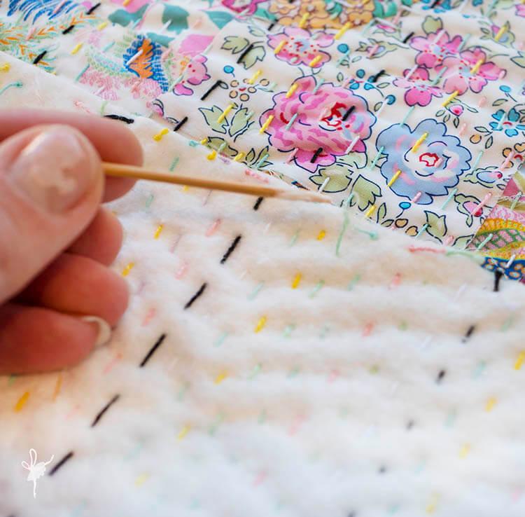 Liberty Society Kantha Stitch Along - Part 3 - glue down loose thread