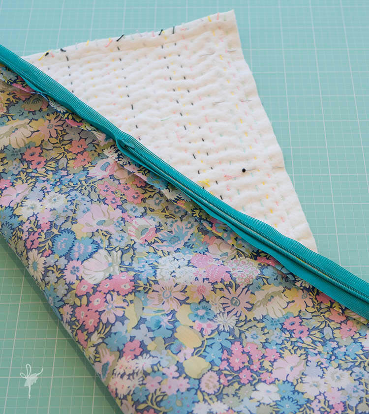 Liberty Society Kantha Stitch Along - Part 3 - pinned top and back together well