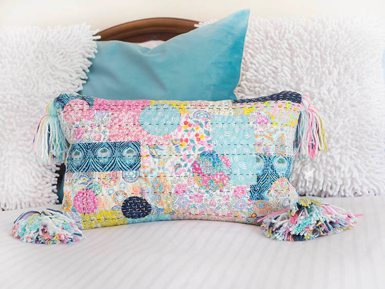 Liberty Society Kantha Stitch Along - Part 3 - Kantha applique quilted pillow