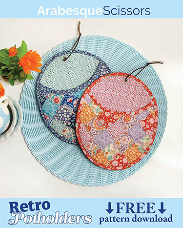Tilda Birdpond FREE Retro Potholders Pattern - click the image for free pattern