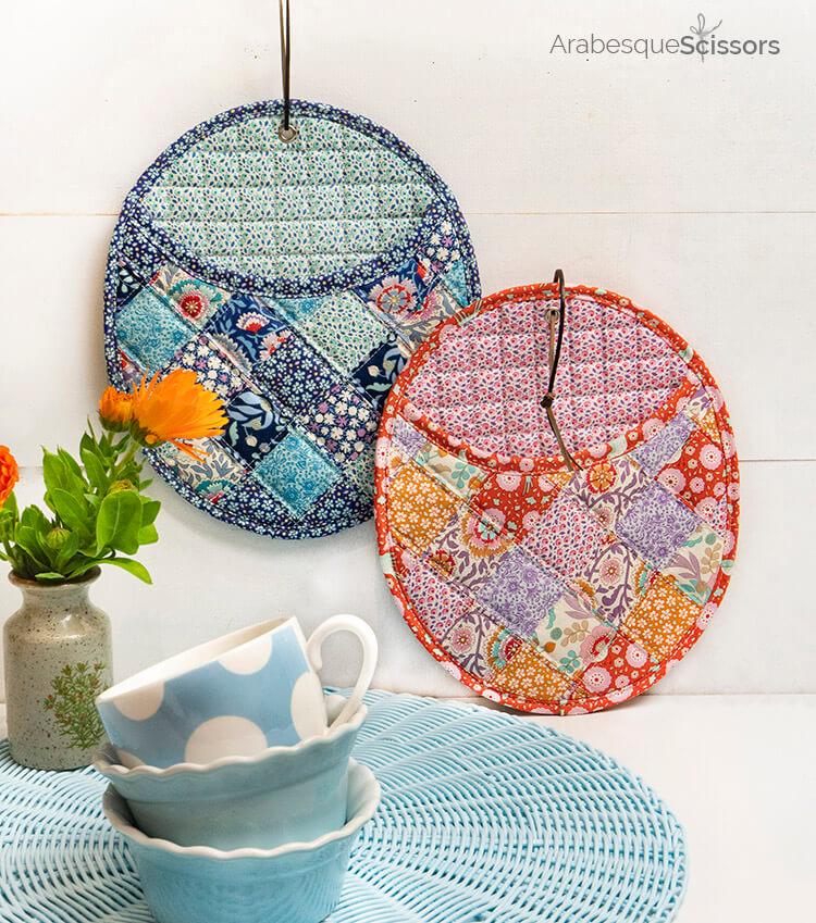 Tilda Birdpond FREE Retro Potholders Pattern - cute hot mats