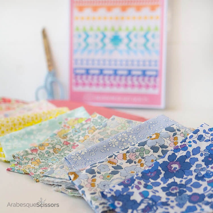 3 Tips for sewing with Liberty and Japanese Chambray - Sunset Isle QAL - Liberty rainbow