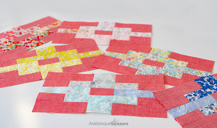 3 Tips for sewing with Liberty and Japanese Chambray - Sunset Isle QAL - Row 1 blocks