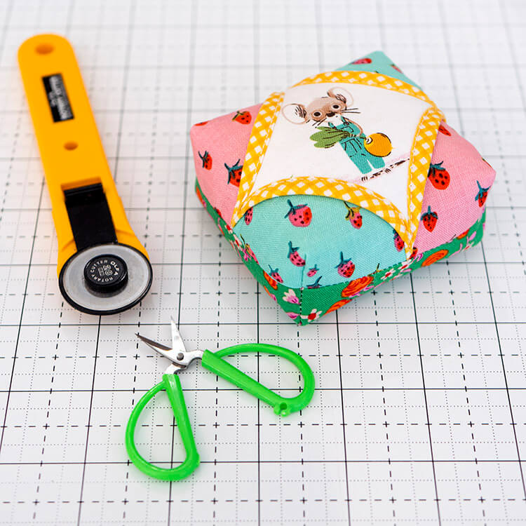 Mini Cathedral Window pincushion - quick and easy project