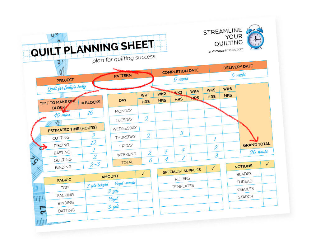 Streamline Your Quilting - Plan Your Next Quilt With This FREE Planning Printable - How to fill out