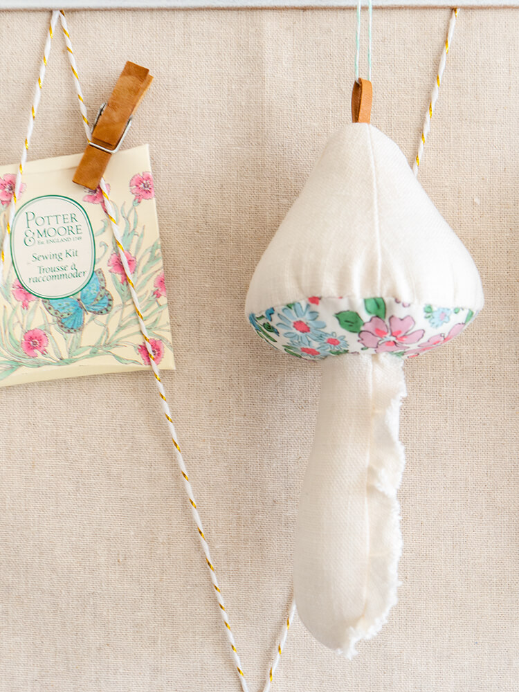 Patchwork Gifts Book Tour - Shabby 'Shrooms, Liberty & Waxed Canvas - a ruffled linen stem