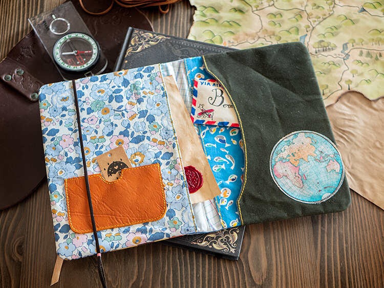 Gifts Book Tour - Shabby 'Shrooms, Liberty & Waxed Canvas - Betsy Liberty and waxed canvas travel compendium