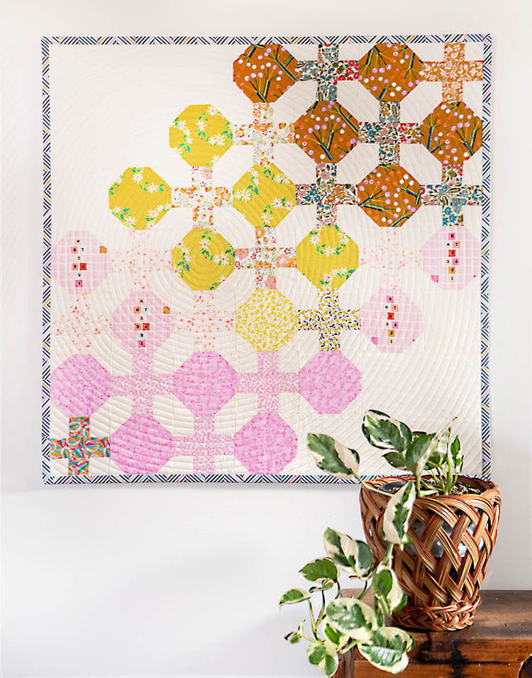 April Liberty Society - Sunshine and Blues - Abacus mini quilt with hypnotic quilting