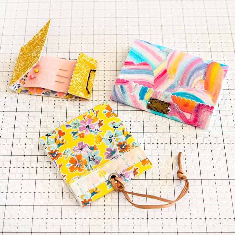 Lovely trio - No Sew Liberty Needle Matchbook Tutorial
