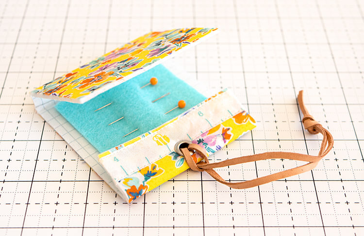 No Sew Liberty Needle Matchbook Tutorial - Sunny yellow Liberty and leather