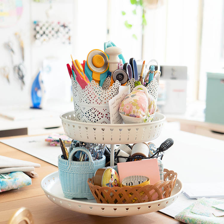 https://www.arabesque-scissors.com/articles/sew-great-to-be-organised-notions-spotlight - ikea tiered tray
