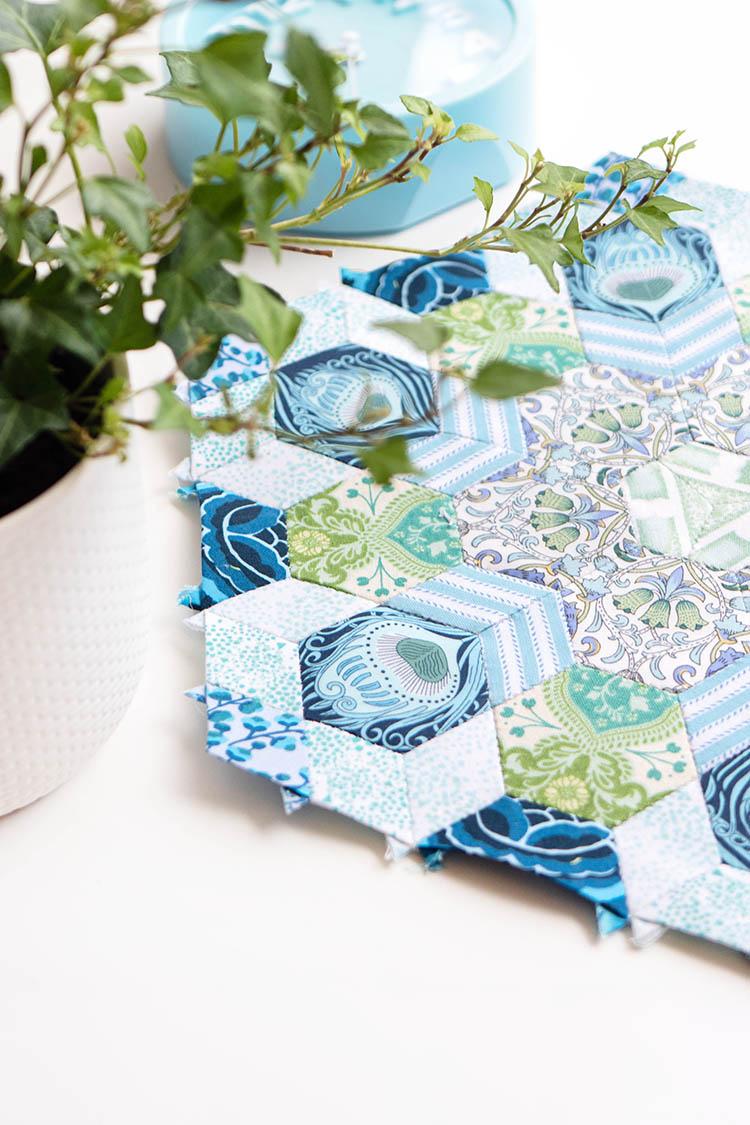 English Paper Pieced Lizzie Liberty and Art Gallery Fabrics Pemberley Block