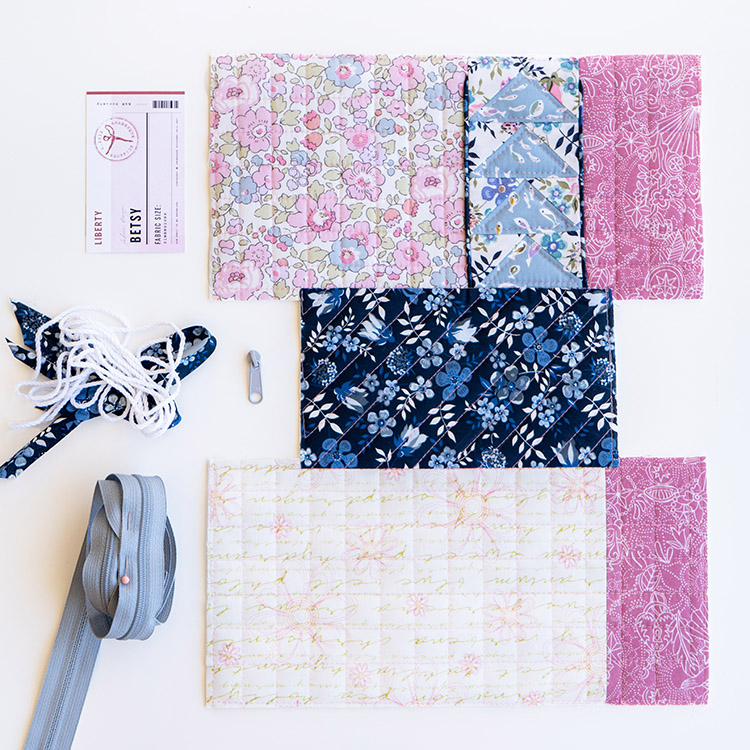 Zakka Workshop Kit - Flying Geese Pouch Flat lay quilted