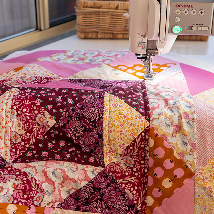 How to Make a Circular Quilted Playmat - try dramatic burgundy thread