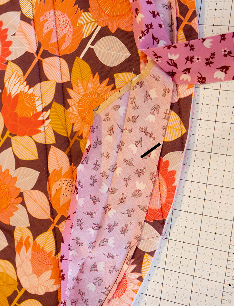 How to Make a Circular Quilted Playmat - join binding by overlapping ends
