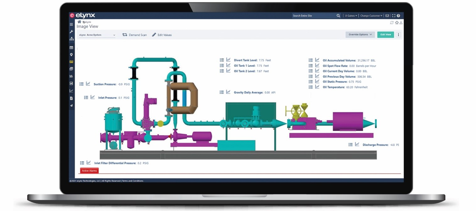 Graphical View is another customizable data visualization tool used to view data with images in cases where more graphical context is needed. Images may represent any asset: RTUs (remote terminal units), PLCs (programmable logic controllers), meters, wells, etc.