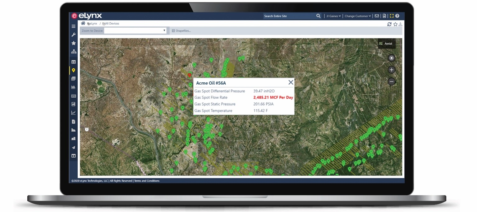 Map View is a customizable data visualization tool which operators can use to view assets geographically. Assets in an alarm state displayed with a red symbol and assets with no active alarms displayed with a green symbol. This specific tool is especially helpful to operators planning their route efficiently while tending to assets in need of reparations. Save on windshield time with the eLynx Map View.