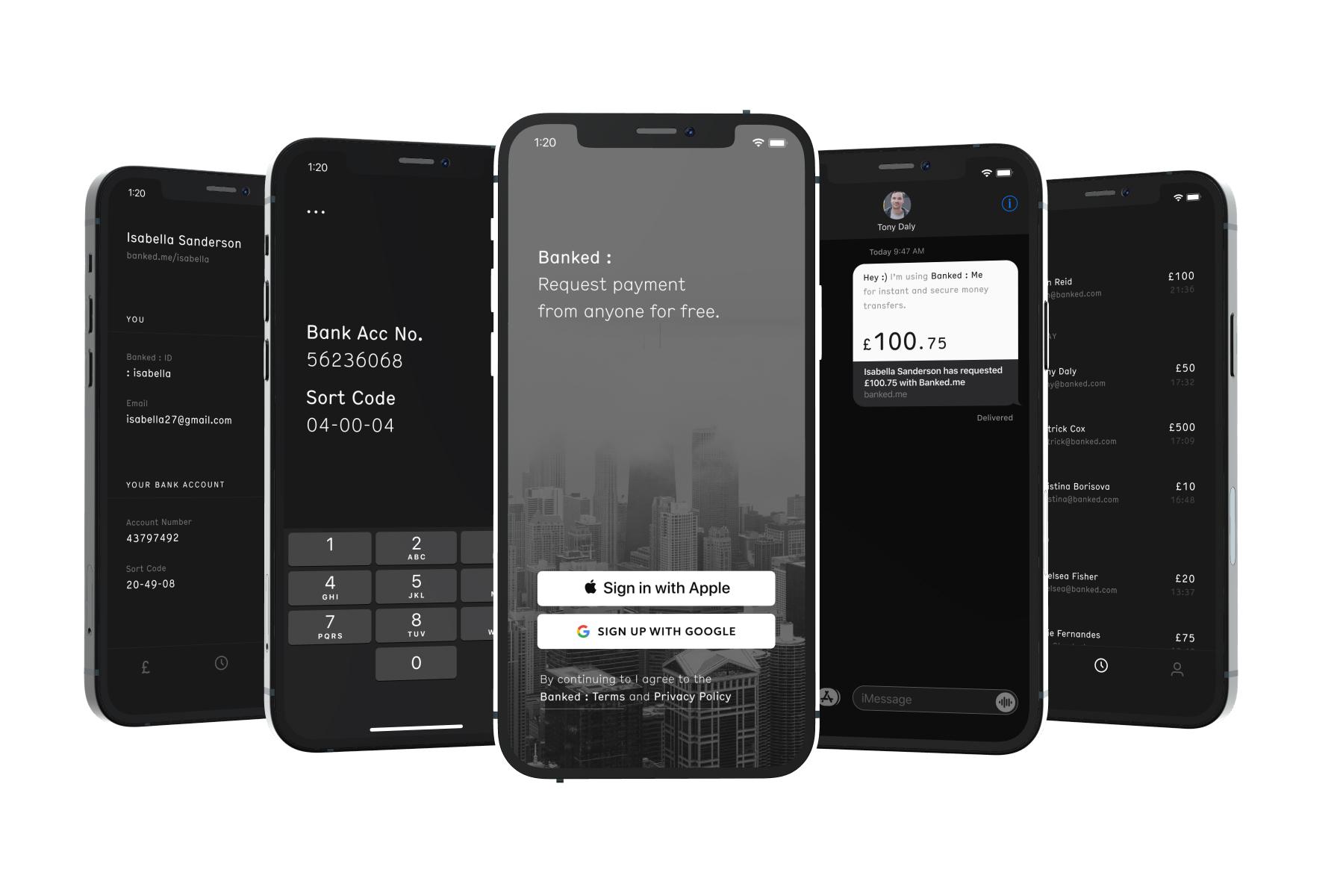Banked : Me - Screen designs