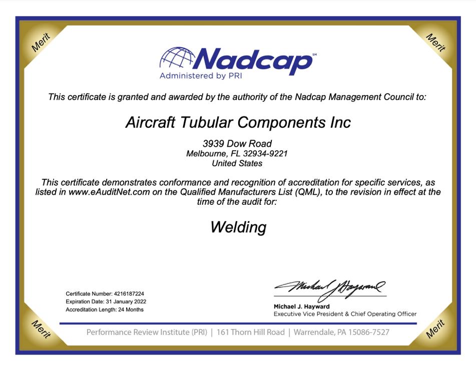 NADCAP Weld - Expires 01/31/2022