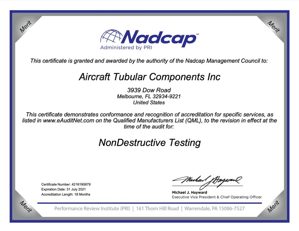 NADCAP NDT - Expires 01/31/2021