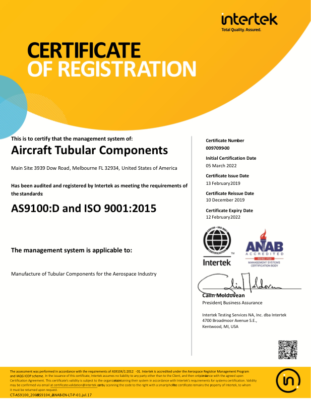 Intertek AS9100D ISO 9001 2015 Certificate - Expires 02/12/2022