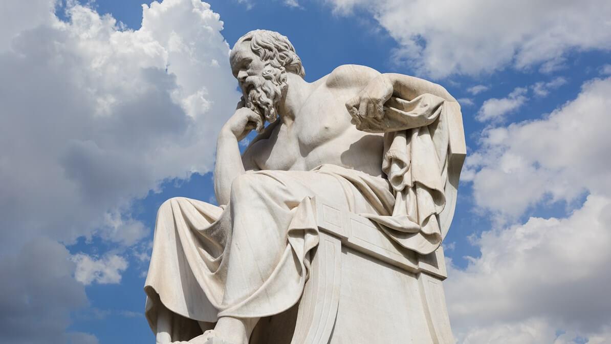 Estátua de Sócrates na Academia de Atenas, por Leonidas Drosis