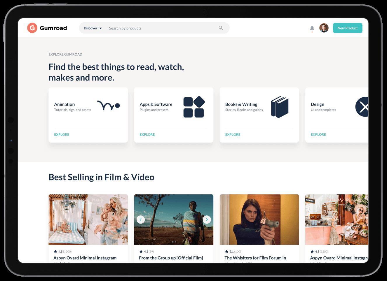 Gumroad case study homepage design