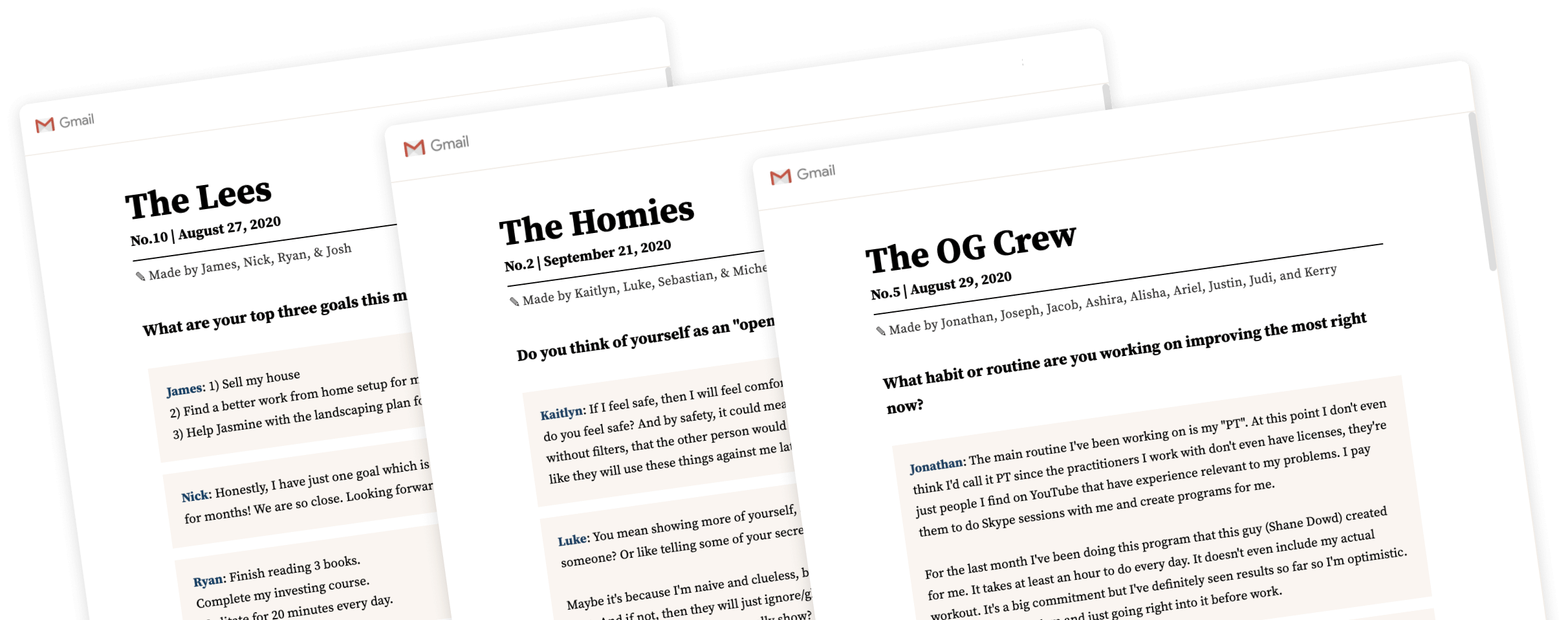 Create private, group newsletters with friends and family