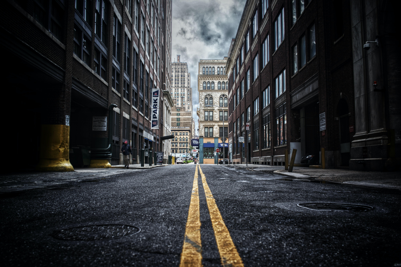 Dark empty street in the city