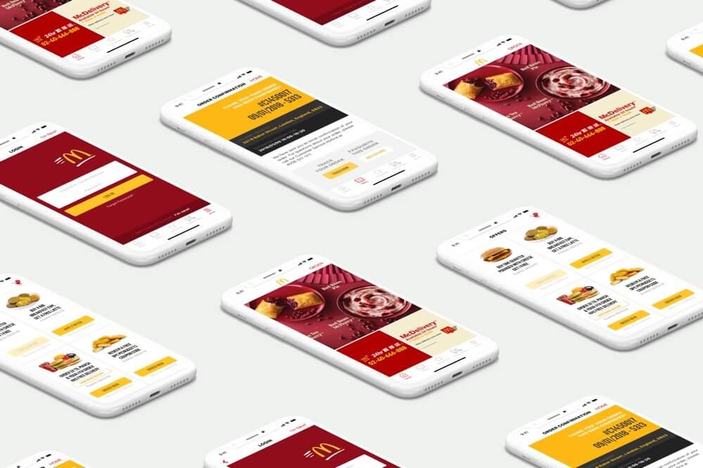 McDonalds screens for Web and Mobile App UX and UI Design