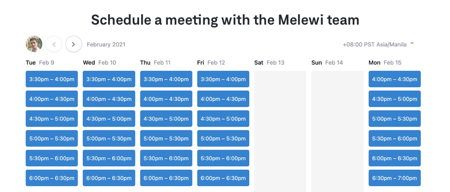 Schedule a meeting with the Melewi Team