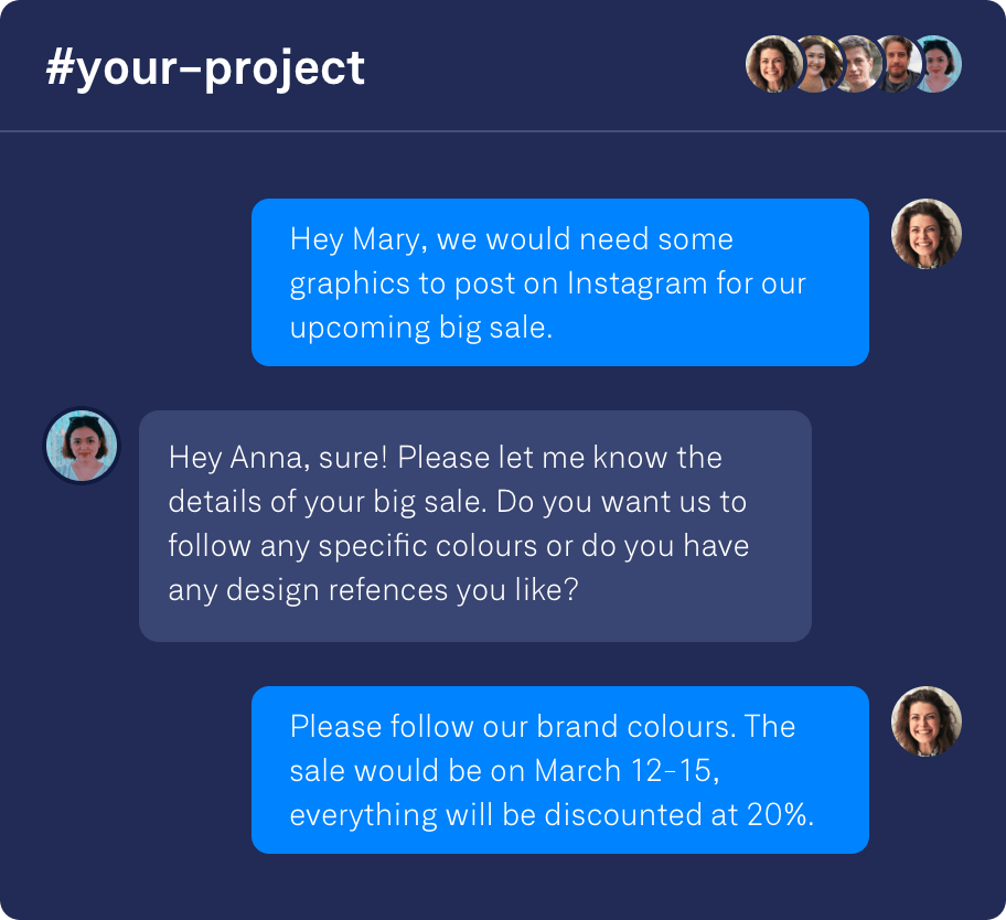 Tell us what you need and our design team will deliver.