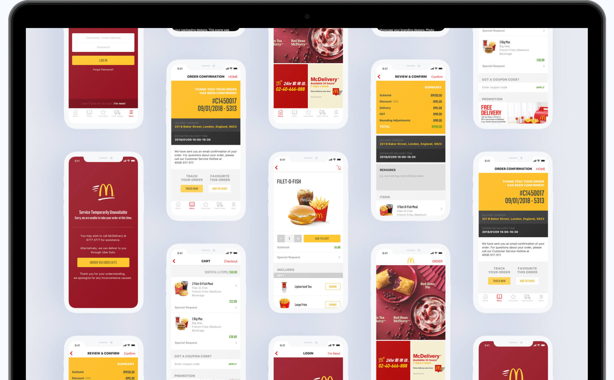 McDonalds app screens on a laptop