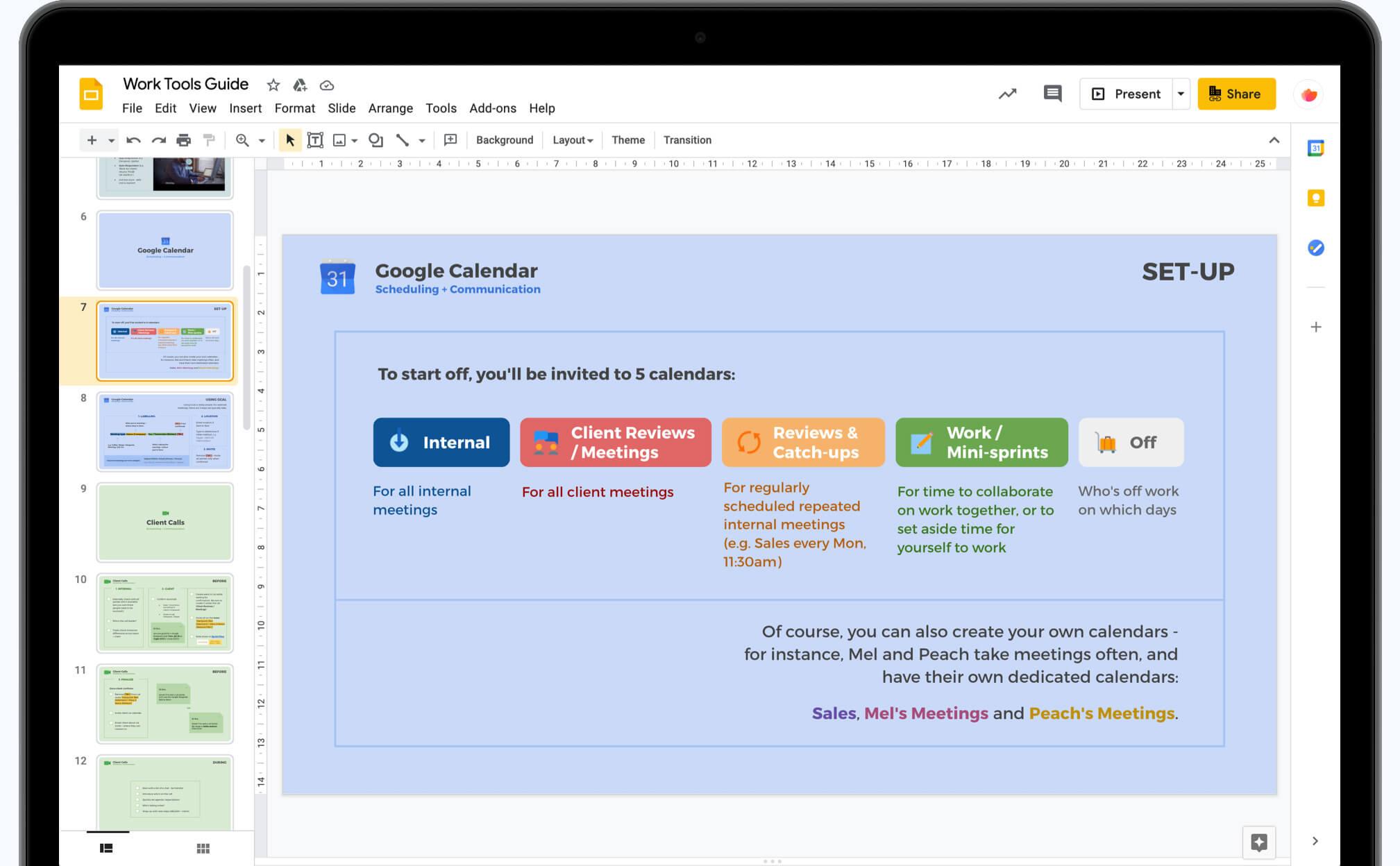 Google Presentation on a laptop