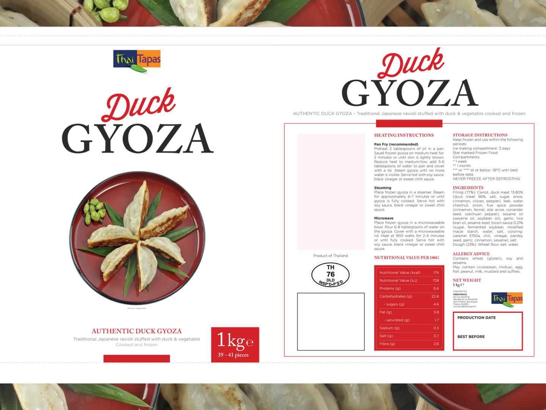 Duck Gyoza packaging design
