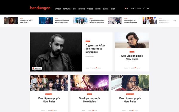 Bandwagon homepage screenshot