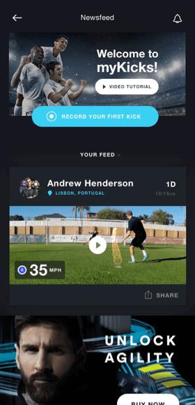 MyKicks app newsfeed screen