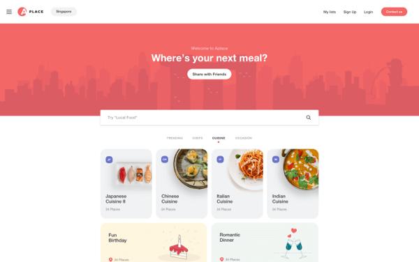 Aplace homepage screenshot