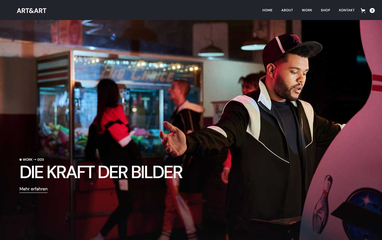 Website Startseite Browser Onlineshop Navigation Home About Work Shop Kontakt