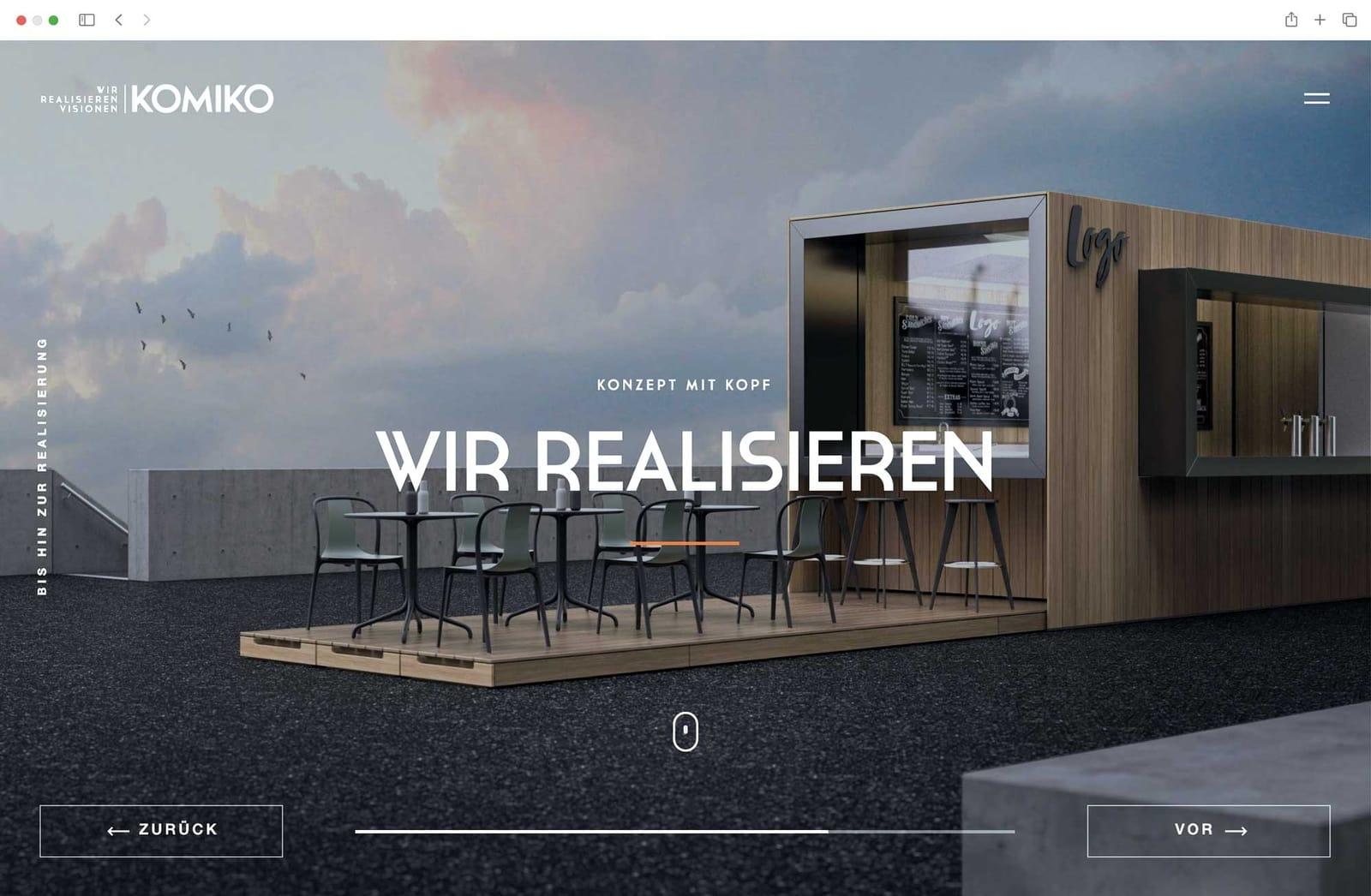 Website Startseite Wir realisieren Visionen Konzept mit Kopf GmbH