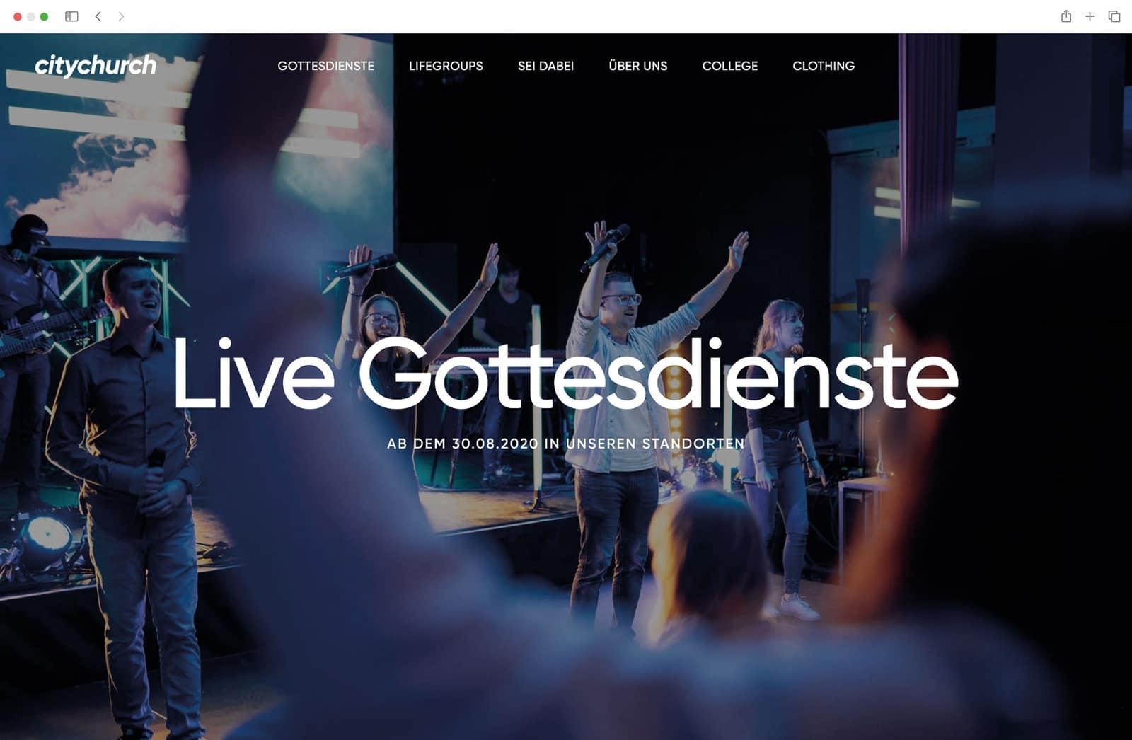 Website Startseite Referenz McWeb Kirche Gottesdienst Citychurch Koeln